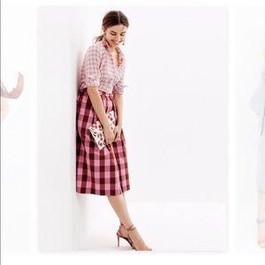 Jcrew pink gingham skirt